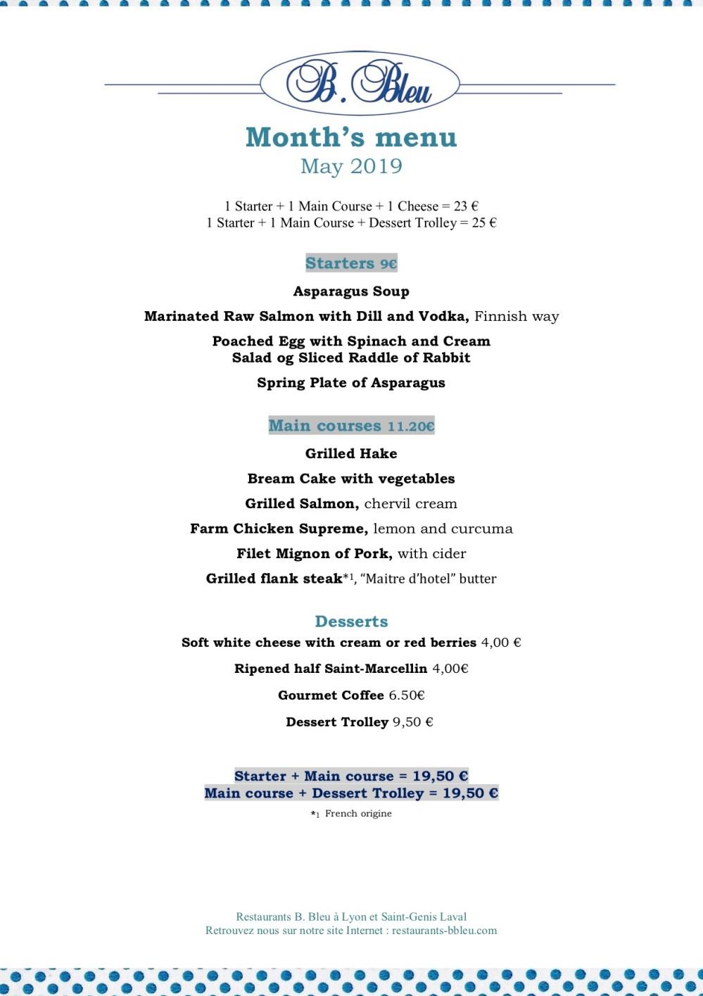 05 May 2019 -Month's menu english