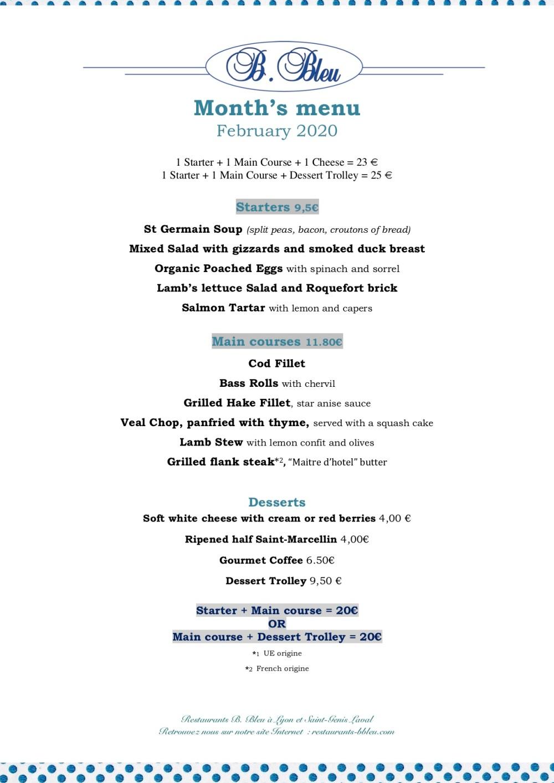 February 02-2020 - Month's menu english
