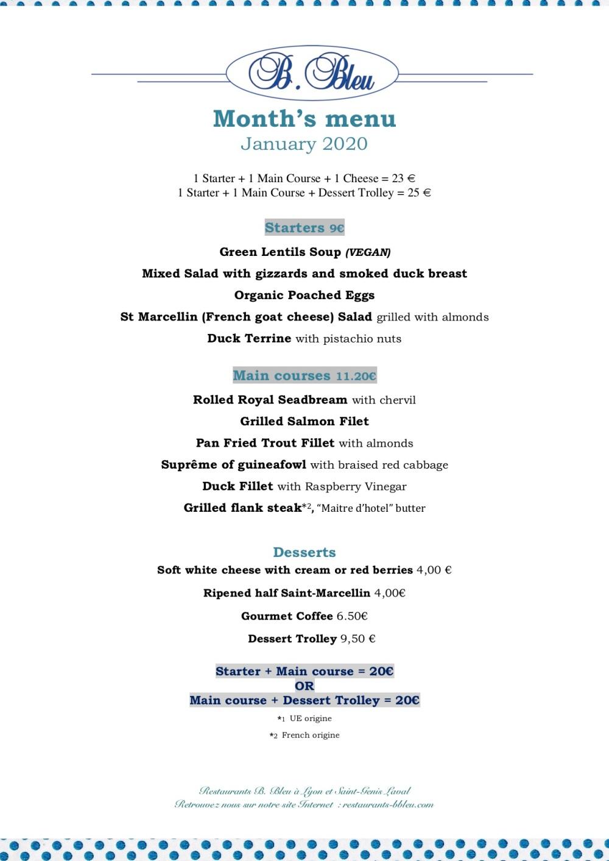 January 01-2020 - Month's menu english