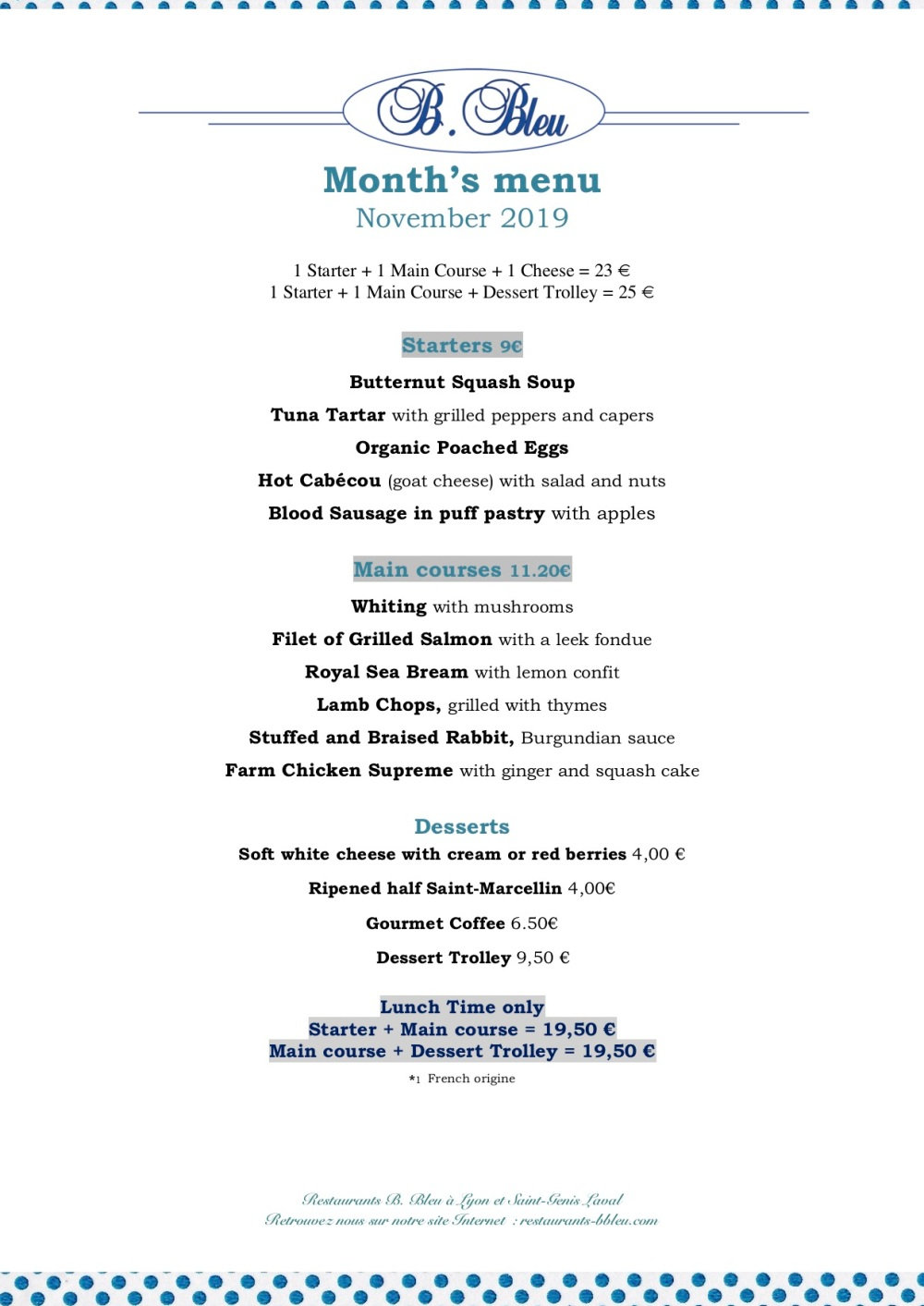 November 11-2019 -Month's menu english