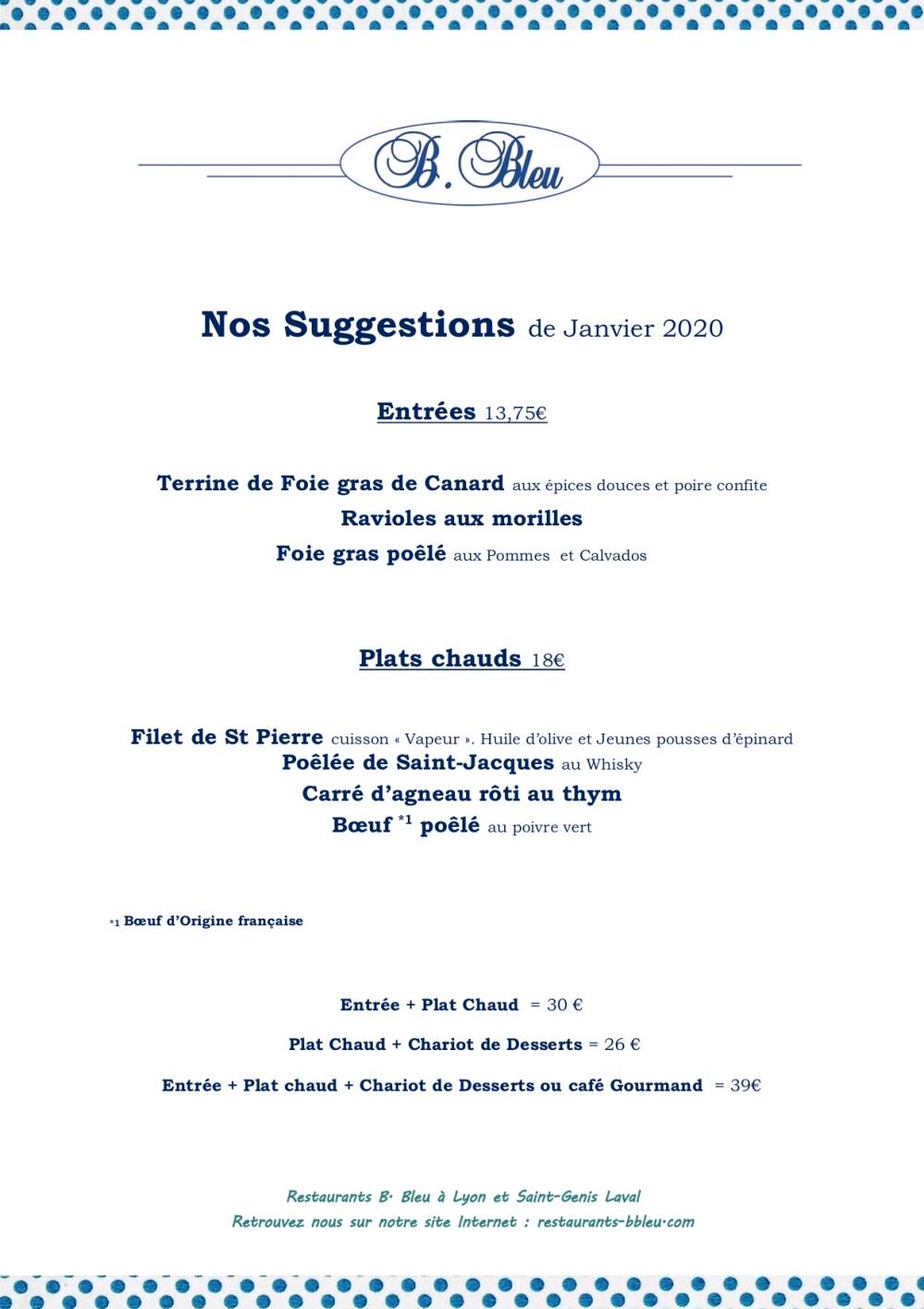01 SUGGESTIONS de JANVIER 2020